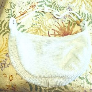 likenew summer white slouchy bag tote purse croche